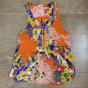 O'Neill Orange Floral Tank with Open Back